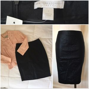 NWT black coated cotton stretch pencil skirt